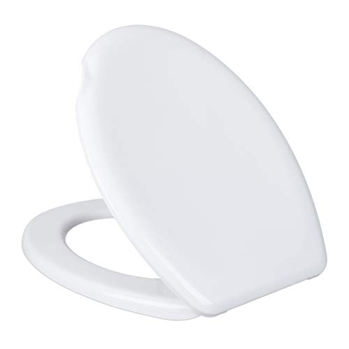 Relaxdays Toilettendeckel, oval, mit Griff-Aussparung, ohne Absenkautomatik, Klobrille Kunststoff, BxT: 37 x 45 cm, weiß