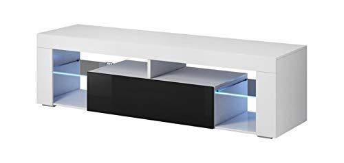 Vivaldi Everest 2 Mueble Comedor para TV Mesa Baja de Estilo Moderno | 50 x 140 x 35 cm | 27 kg | 2 Estanterias de Cristal | con Iluminacion LED Salon | Blanco Mate y Negro Brillo