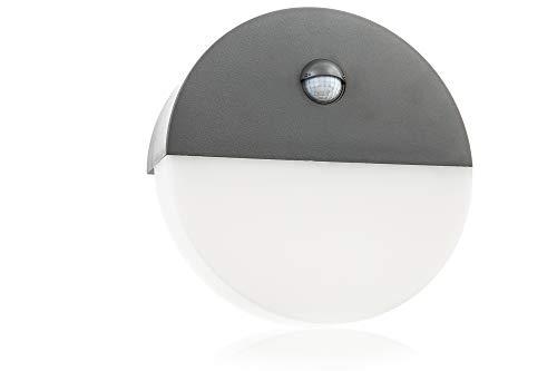 HUBER LED Wandlampe mit Bewegungsmelder 140°, rund, anthrazit, 10 W, 600 Lumen, tageslichtweiß, IP54