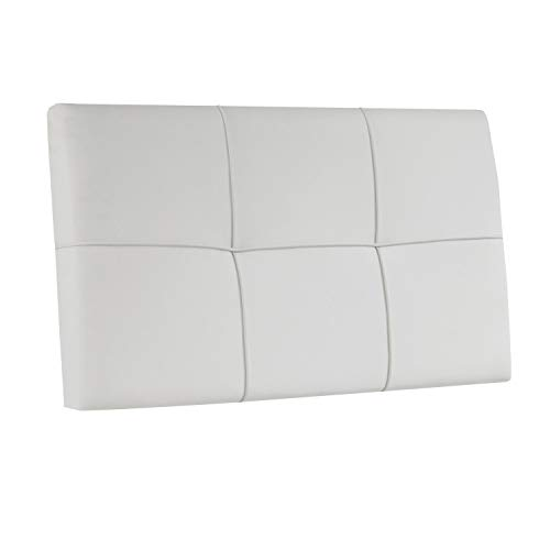Square, Cabecero Acolchado de Cama de Dormitorio Individual, Cabezal, Acabado en Simil Piel Color Blanco, Medidas: 100 cm (Largo) x 55 cm (Alto) x 4 cm (Fondo)