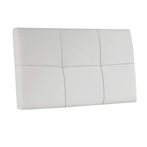 Adec - Square, Cabecero Acolchado de Cama de Dormitorio Individual, Cabezal Acabado en simil Piel Color Blanco, Medidas: 100 cm (Largo) x 55 cm (Alto) x 4 cm (Fondo)