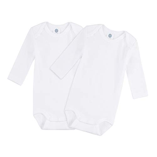 Sanetta Lot de 2 bodies pour bébé - Unisexe - Manches longues - En coton biologique - Blanc - 4 ans