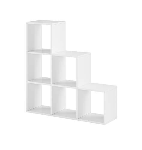 IZER Treppenregal Raumteiler Stufenregal Weiß matt Bücherregal Standregal Regal