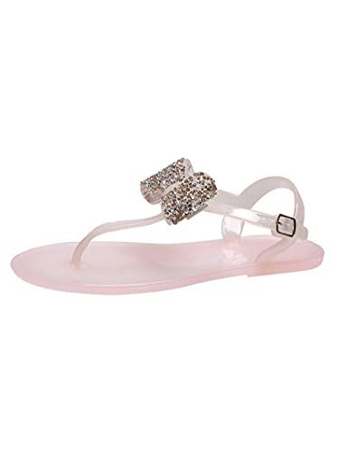 Zapatillas de moda para mujer, sandalias de nudo de vaca, zapatillas de fiesta de agua en la playa, zapatos novedosos rosa-39