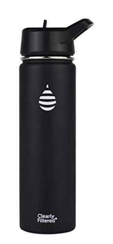 Clearly Filtered Insulated Stainless Steel Water Bottles (Black)