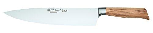 Burgvogel Solingen Kochmesser 26 cm geschmiedet Olivenholz, Oliva Line, rostfrei, deutsches Küchenmesser, hell, scharf