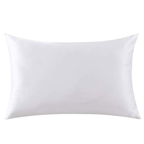 ZIMASILK - Funda de almohada de seda 100% para pelo y piel, de seda pura de morera de 19 mommes por ambas caras, con cremallera, 1 unidad (40 x 60 cm, color marfil)