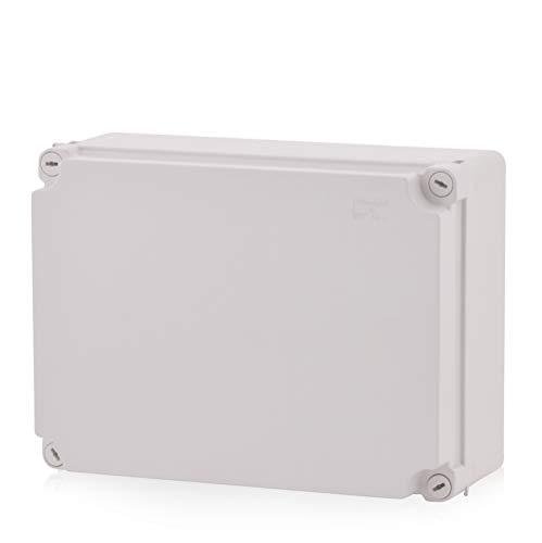 Aufputz Installationsgehäuse, Abzweigkasten Kunststoffgehäuse mit Scharnierschraube | 300x220x120mm | IP65 | Verteilerkasten Leergehäuse Industriegehäuse, Abzweigdose, Schaltschrank
