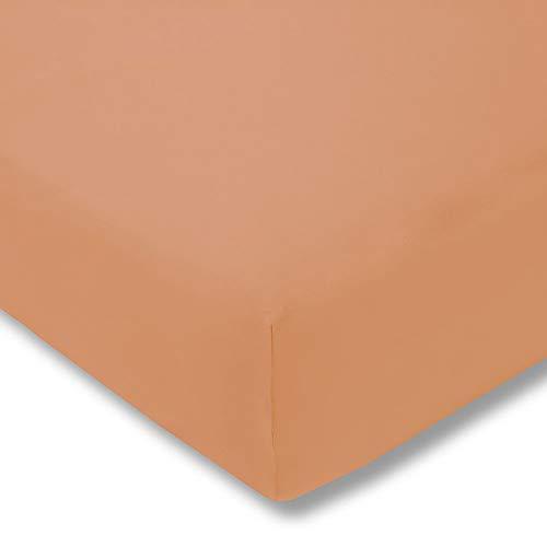 ESTELLA Spannbetttuch Zwirnjersey   apricot   200x200 cm   passend für Matratzen 180-200 cm (Breite) x 200-220 cm (Länge)   trocknerfest und bügelfrei   97% Baumwolle 3% Elastan