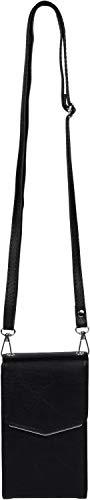 styleBREAKER Damen Mini Bag Umhängetasche, mit Metall Detail am Umschlag, Handytasche, Schultertasche, Handtasche 02012353, Farbe:Schwarz