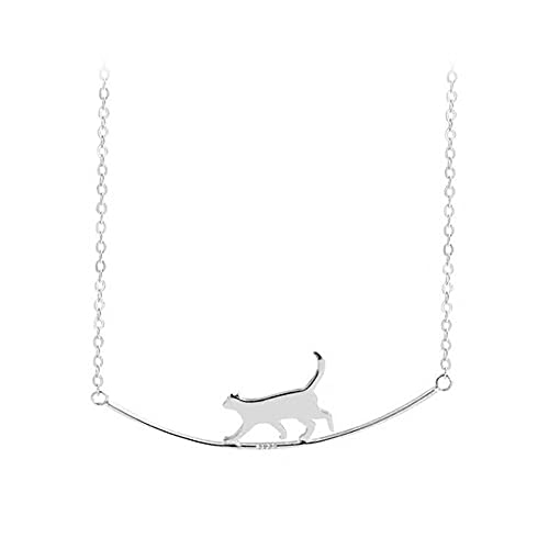 Fashion Cat Curved Simple Personality 925 Sterling Silver Jewelry Cute Animal Walking Cat Clavicle Chain Necklaces
