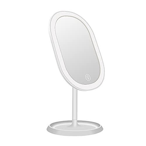 Espejo de Maquillaje Escritorio 20 LED Rotación 180 Grados ABS Vidrio Luz Blanca Almacenamiento Base Retirable para Casa