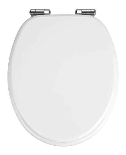 WENKO WC-Sitz Urbino - Toiletten-Sitz mit Absenkautomatik, rostfreie Hygiene Zinkdruckgussbefestigung, MDF, 36 x 42.5 cm, Weiß