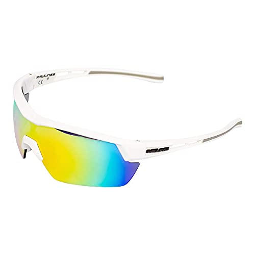 RAWLINGS RY134 Youth Baseball Shield Sunglasses Lightweight Sports Youth Sunglasses for Running, Softball, Rowing, & Cycling, Flexible Foldable Scratch Resistant︱White / Orange-multi
