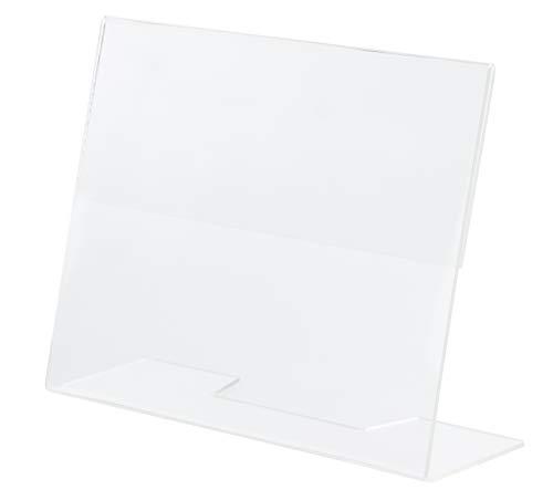 Soporte acrílico inclinado para letreros y folletos - Paquete de 6 - 12,7 cm x 17,7 cm