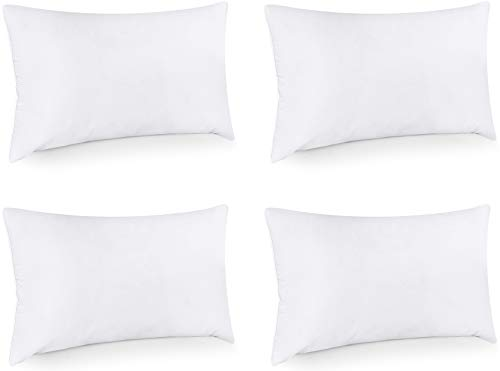 Utopia Bedding Throw Pillows Insert (Pack of 4, White) - 12 x 20 Inches Bed and Couch Pillows - Indoor Decorative Pillows