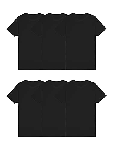 Fruit of the Loom Men's Stay Tucked Crew T-Shirt, Classic Fit-Black-6 Pack, Large