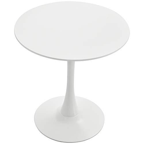 homcom Tavolo da Pranzo Rotondo in MDF Bianco con Base in Metallo per Eventi/Bar/Casa, 70x70x75cm - capacità Max. 30Kg