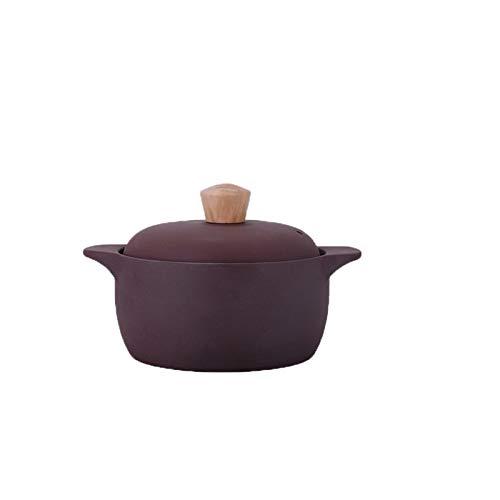 hongbanlemp ollas Rectas China Estilo Clay Casserole Pot Stockpot Premium Casserole Casserole con Tapa y Agujeros de ventilación Hat de la Olla de Madera 2.5L / 3.5L Olla Sopa (Size : A)