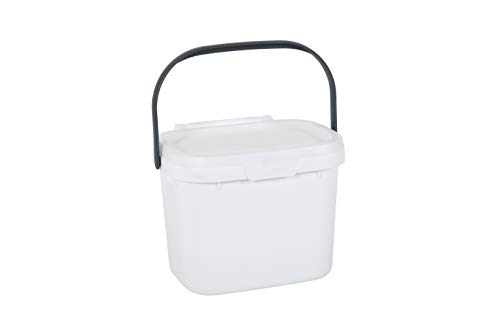 Addis Everyday Kitchen Food Waste Compost Caddy Bin, 4.5 Litre, White/Metallic Sliver, Silver, 4.5ltr