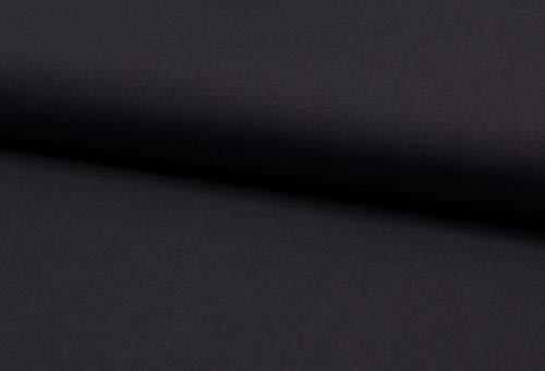 Baumwollstoff, leichte Sommerqualität, Maritime Muster, Anker und Uni zum Nähen von Bekleidung, 50 cm (Schwarz)