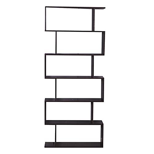 6 Shelf Bookcase, Modern S-Shaped Z-Shelf Style Bookshelf, Multifunctional Wooden Storage Display Stand Shelf Dark Brown