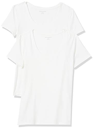 Amazon Essentials Lot de 2 t-Shirts à Manches Courtes et col Rond. Fashion, Blanc/Blanc, 40-42