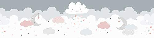 WALLCOVER Cenefa autoadhesiva para habitación de bebé, cielo, estrellas, decoración de pared, color blanco, rosa y gris, adhesivo moderno de 5 x 0,155 m para habitación infantil o niña