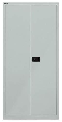 BISLEY Flügeltürenschrank Universal, 4 Fachböden, 5 OH, Metall, 355 Silber, 40 x 91.4 x 195 cm