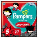 Pañales Pampers tamaño 5 (12kg-17 kg) – Baby-Dry Pants edición Super Héroes, 27 braguitas