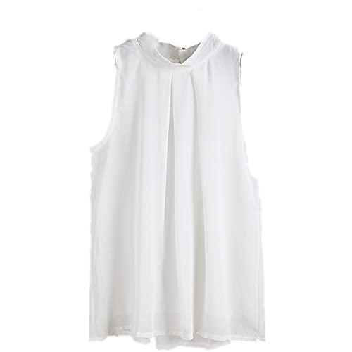 Camiseta Sin Mangas Mujer Elegante Sexy Color Sólido Mujer Blusa Verano Suelta Transpirable Delgadas Y Ligeras Tops Mujeres Trabajo Viajes Mujeres Tops E-White 4XL