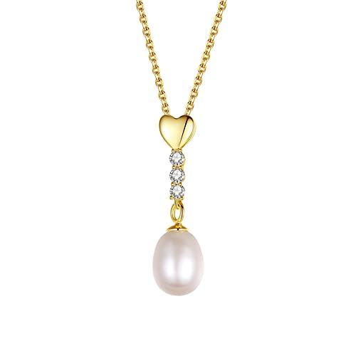 xu Collar con Colgante de Perlas de Plata esterlina S925, Colgante de Cadena de clavícula de corazón de Amor pequeño a la Moda para Mujer
