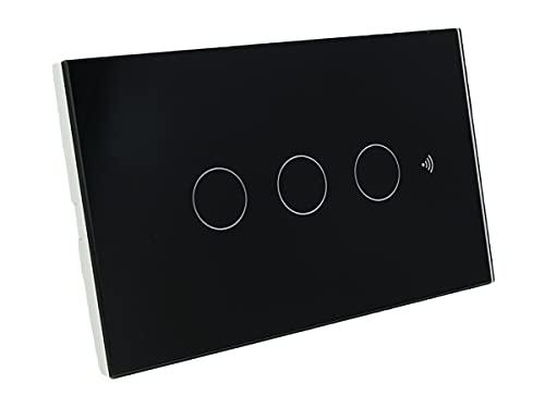 Interruttore Da Parete WiFi, 3 In 1 WiFi 2.4G + RF 433 Mhz + Tasto Touch, Compatibile Con Amazon Alexa e Google Home, Pannello Smart Intelligente Per Scatola 503 Italiana (Nero, 3 Tasti Touch)