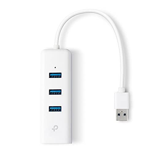 TP-Link Adattatore di rete 2 in 1, USB 3.0 con 3 porte e Gigabit Ethernet, Bianco(UE330)