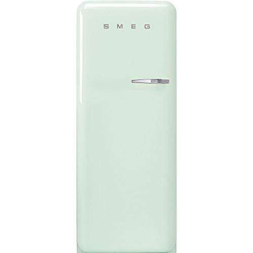Smeg FAB28 50's Retro Style Aesthetic Top Freezer Refrigerator with 9.92 Cu Total Capacity, Multiflow Cooling System, Adjustable Glass Shelves 24-Inches, Pastel Green Left Hand Hinge
