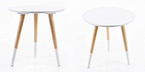 Fair-Shopping Beistelltisch 2er Set Dreibein-Tisch Nachttisch Couchtisch Dekotisch Couchtisch Tischchen MDF-Holz 40 x 39 cm 2 er Set