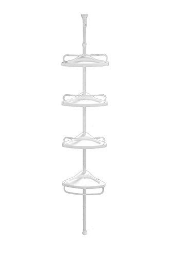 Quange FunkyBuys Deluxe White 4 Livelli telescopico Regolabile (70 cm - 248 cm) Doccia angolare Bagno organizzatore mensola Portapacchi (Size : (SI-079) White 4 Tier (70cm - 248cm))