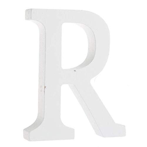 BIGBOBA Holz Buchstaben A-Z Retro DIY Dekoration für Home Coffee Shop Kleidung Store Geburtstag Party Hochzeit Weiß, Höhe 8 cm, R