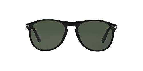 Persol Unisex PO9649S Sonnenbrille, Schwarz (Gestell: schwarz, Gläser: grün-klar 95/31), Medium (52)