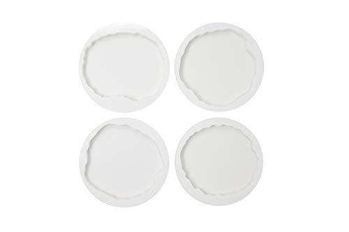 Crownmade 4er-Pack Geodescheiben-Silikon-Untersetzerform - Silikonformen für Gießharz und Epoxidharz