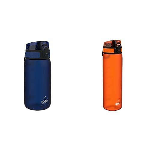 Ion8 Leak Proof Bpa Free, Botella De Agua, Sin Bps, A Pueba De Fugas, Azul (Frosted Navy), 350 Ml + Botella Agua, Sin Fugas, Sin Bpa, 500Ml, Naranja