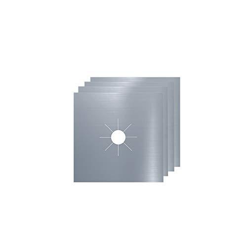 NRRN 4 piezas de aluminio reutilizable quemador cubierta, quemador de gas de hoja protector de revestimiento de estera limpia