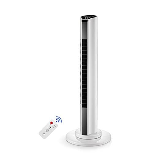 YSXFS Turmventilator, Oszillierende Turm-Ventilator Mit Fernbedienung, Haushalt Bodenventilator 15h Zeit Kleiner Klimaanlage Vertikale Energiesparventilator 1.4m Netzkabel(Color:Weiß)