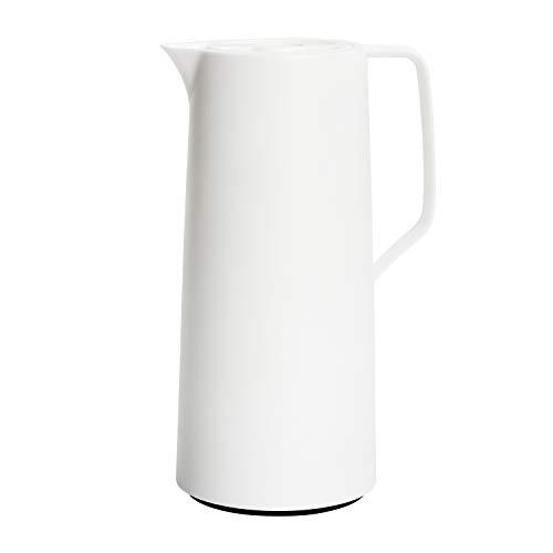 Emsa N41704 Motiva Isolierkanne | 1 Liter | Quick-Press-Verschluss | 12h heiß, 24h kalt | Glaskolben | Made in Germany | Nordisches Design | Weiß