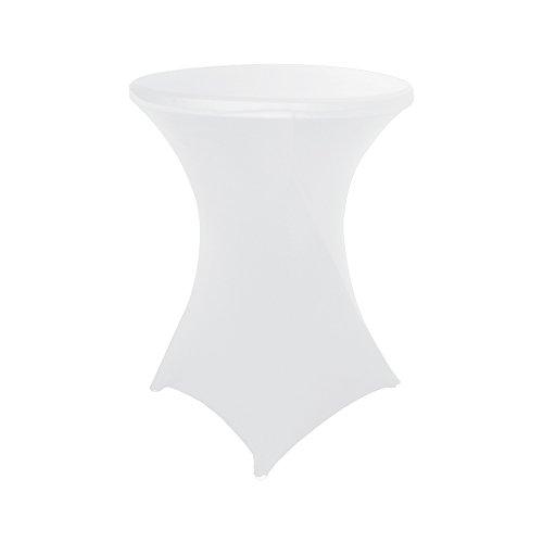HAORUI Copri tovaglia da 80 cm in Spandex Lycra Adatta a Tavolo da Cocktail, Feste, Eventi Nuziali(Bianco)