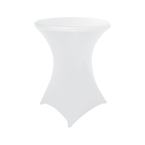 HAORUI Spandex Lycra 30'(?76-80cm) Table Cover Cocktail Dry Bar Stretch Round Fit for Party Wedding Event(White)