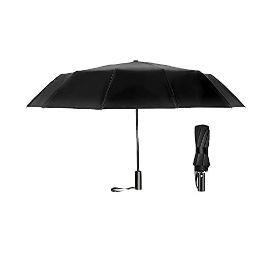 Paraguas de viaje con cierre abierto automático, resistente al viento, plegable, compacto, resistente, con mango antideslizante, 12 costillas, ligero de secado rápido