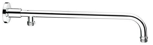 Cornat Wandarm - 350 mm Ausladung - 1/2 Zoll Anschlussgewinde - Passend für alle handelsüblichen Kopfbrausen - Messing verchromt / Zulaufarm für Regenduschen / Brausearm / Duscharm / TECBW3308