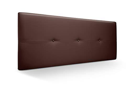 Cabecero de Madera Jazmin, tapizado Acolchado en Polipiel Color Chocolate. Cabeceros Madera para Dormitorio   Cama Matrimonio   Cama Juvenil   Camas de 140 cm, 135 cm, 120 cm