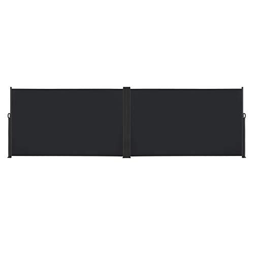 LARS360 Store Latéral Retractable Polyester Paravent Extérieur Rétractable pour Jardin, Balcon, Terrasse (160 x 600 cm, Noir)